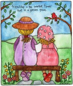 Friendship is the sweetest flower that in a garden grows. Illustration Amis, Friends Illustration, Painted Rocks, Hand Painted, Arte Country, Art Friend, Bullet Journal Art, Country Paintings, Love Hug