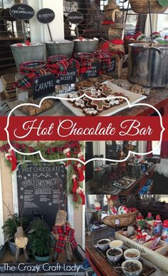 Beverage Cart - Hot Chocolate Bar - Hot Chocolate, Marshmallows, Caramels, Shaved Chocolate, Whipping Cream, Candy Canes