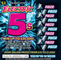 """Here's How to Play: Get a BLACK """"5"""" symbol, win PRIZE shown for that symbol. Get a BLUE """"5X"""" symbol, win 5 TIMES the PRIZE shown. Get a BLUE BURST """"$50"""" symbol, win $50 instantly! More Than $10.8 Million in Prizes. Approximately 8,400,000 ELECTRIC 5s tickets are initially planned in this game. Click the image for more information!"""