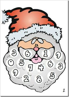 Draw a number word card, cover the numeral on Santa's beard with a cotton ball.  First person to fill the beard is the winner...plus you have a really cute santa!