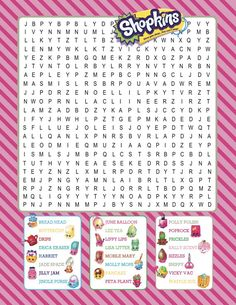 Shopkins Printable Word Search ~ Digital download ~ Shopkin Birthday Party Game