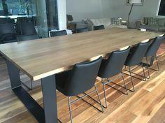 House Furniture Design, Custom Made Furniture, Home Decor Furniture, Home Interior Design, Timber Dining Table, Diy Dining Table, Dinner Tables Furniture, Dinner Room, Indoor Outdoor Furniture