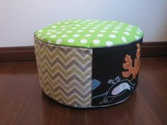 Neon Green polkadots, Grey Green chevron, Black with bird motif Green Chevron, Neon Green, Green And Grey, Outdoor Furniture, Outdoor Decor, Ottoman, Polka Dots, Bird, Black