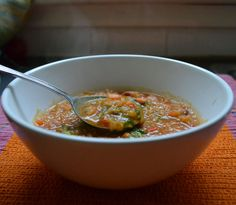 Red Lentil and Chorizo Stew with Saffron and Roasted Garlic Chimichurri