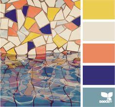 Colour Dive: Creamy White, Bright Violet, Pale Blue, Faded Sherbert Orange and Sunshine Yellow. Great colour palette. #Inspire #Tiles