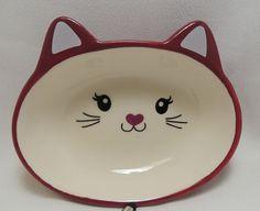 """Cat Face Food Water Bowl Dark Pink 5-1/2"""" Diameter Ceramic 4.73 oz  #SimplyCat"""