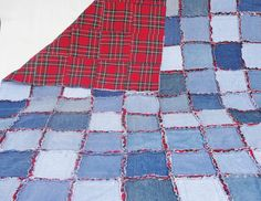 Denim Rag Quilt Frayed Denim Jean Quilt 64 x 49 Blue Denim Red and Black Plaid Flannel on reverse