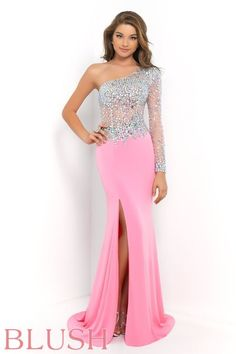 Sleek and sexy evening gown featuring a sheer illusion bodice and single sleeve encrusted with AB stones and crystals. The skirt shows of your curves as it tapers to the floor and breaks away into a thigh high slit and sweeping train. Look like you just stepped off the Fashion Week runway as you walk into your next prom or formal affair. Side zipper closure. Available in Aquamarine and Bubblegum. #BlushProm #Prom2015 #BlushProm2015