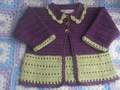 Fabulous little baby coat in purple and lime. 100% cotton 0-3 months. £15 plus p&p https://www.facebook.com/anneshandmadebabyshoes