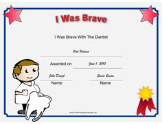 This printable certificate recognizes a child's bravery at the dentist, and is illustrated with a kid dentist holding a giant tooth. Free to download and print