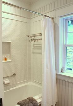 Bathroom with white tile -- The Inn at Little Pond Farm -- photo Kelly from by Talk of the House Bathroom Renos, Budget Bathroom, Small Bathroom, Bungalow Bathroom, Family Bathroom, Bathroom Ideas, Dream Bathrooms, Beautiful Bathrooms, White Bathrooms
