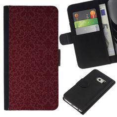 KLONGSHOP // Schlag-Mappen-Leder-Kasten mit Kartenslots - Maroon Tapete Retro - Samsung Galaxy S6 EDGE //: Amazon.de: Elektronik