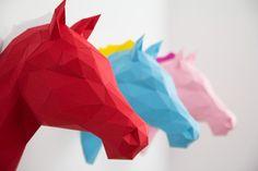 3D Origami Pferde Papershape