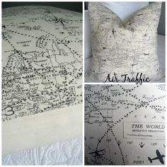 AIR TRAFFIC.Gift for Him.Pillows .Slip Cover.Military.Navy.AirForce.Man Cave Pillow Covers.Home Decor.Air traffic Controller.Airplane.Map by GamGamzhandcrafted on Etsy