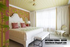 Ceiling ideas - Patterned wallpaper on the ceiling