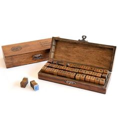 Alphabets and Numbers Stamp Sets in a Vintage Wooden Box