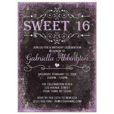 Sweet 16 Invitations - Black Grunge Purple