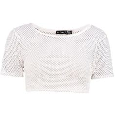Boohoo Petite Lucinda Fishnet Crop Top ($16) ❤ liked on Polyvore featuring tops and boohoo tops