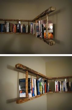alte holzleiter wandregal selber machen make old wooden ladder wall shelf yourself Pin: 600 x 901 Old Wooden Ladders, Ladder Bookshelf, Bookshelf Ideas, Bookshelf Design, Shelving Ideas, Creative Bookshelves, Diy Ladder, Storage Ideas, Bookshelves For Small Spaces