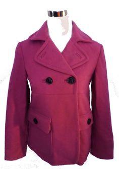 Womens Size XS GAP Fuchsia Wool Blend Swing Style Peacoat, Well Loved!
