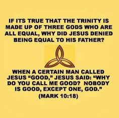 "NO TRINITY - Jesus, the Son of God, never claimed to be equal to or of the same substance as his Father. Rather, he said: ""I am going my way to the Father, because the Father is greater than I am."" (John 14:28) He also told one of his followers: ""I am ascending to my Father and your Father and to my God and your God.""—John 20:17 [Visit Jehovah's Witnesses official website jw.org for accurate Bible knowledge.]"