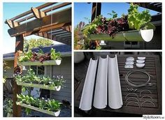 Instructions – goodshomedesign hanging gutter garden - 40 genius space-savvy small garden ideas and solutions Back Gardens, Small Gardens, Outdoor Gardens, Diy Herb Garden, Garden Pots, Garden Web, Succulents Garden, Spice Garden, Veg Garden