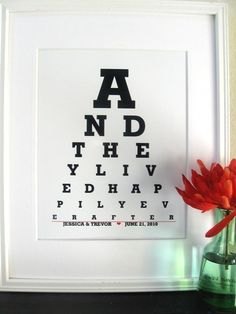 Cute decor idea for the optometrist bride or groom! From Etsy.com