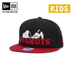 ニューエラ×ピーナッツキッズスナップバックキャップスヌーピーブラック帽子NEWERA×PEANUTSKIDS9FIFTYSNAPBACKCAPSNOOPYBLACK[キャップneweracapニューエラキャップ子供用小さいサイズメンズレディース][BK]#KD