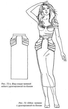 Прямая юбка с драпировкой по бокам