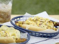 Footlong West Virginia-Style Hot Dogs with Bourbon-Bacon Slaw Recipe from Food Network B Food, Good Food, Food Hub, Hot Dog Buns, Hot Dogs, Katie Lee Food Network, Slaw Recipes, Coleslaw Mix, Canned Tomato Sauce