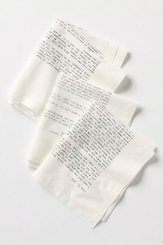"""""""Shown In: Black     NAPKINShow  QuantityShowadd to bag  Add To Wish ListSend To Friend   DETAILS  Text from letters written by some of the world's best-known authors is screenprinted by hand onto these soft sateen napkins. Now you can enjoy the company of Jack London, Emily Dickinson, D.H. Lawrence and Mark Twain at your very own dinner table."""" { Literary Correspondence Napkin Set from Anthropologie [$58] }"""