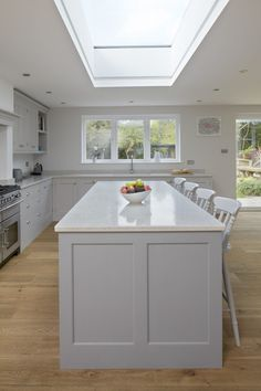 Our Classic Framed Shaker cabinets look fabulous in this new kitchen-dining-living extension Small Open Plan Kitchens, Open Plan Kitchen Dining Living, Open Plan Kitchen Diner, Living Room Kitchen, Kitchen Orangery, Conservatory Kitchen, Kitchen Interior, Kitchen Design, Kitchen Diner Extension