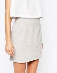 grey suede skirt