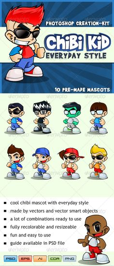 Buy Chibi Kid Mascot - Everyday Style by hackerkuper on GraphicRiver. Chibi Kid Mascot – Everyday StyleSee the quick guide below:Chibi cartoon mascot comes with cool everyday styles. Kawaii Chibi, Anime Chibi, Cartoon Characters, Vector Characters, Fictional Characters, Mascot Design, Game Assets, Cool Cartoons, Cartoon Kids