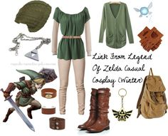 Casual cosplay of Link (from The Legend of Zelda games)-- character inspired outfit