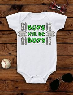 """This baby boy Onesie® bodysuit that says """"Boys will be Boys"""" is the perfect cool baby outfit for your baby boy's birthday party, and he can wear it year-round! Also available in toddler t-shirts! Shop the outfit here: https://www.etsy.com/listing/265130241/baby-boy-baby-boy-clothes-baby-boy?ref=shop_home_active_40 #babyboyactivewear #toddlerboyactivewear #babyactivewear #toddlerpartyoutfitboy #babyboyoutfits"""