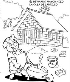 Farm Coloring Pages, Coloring Pages For Kids, Coloring Books, Preschool Worksheets, Preschool Activities, Three Little Pigs Story, Nursery Rymes, Petite Section, Early Education