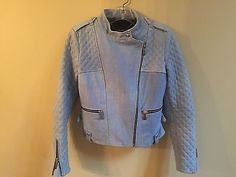 Barbara Bui Quilted Denim Illusion Leather Jacket in Blue NWOT Sz 42 $2000