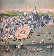 Lisboa vista pelos japoneses, biombo de 1609. Old Maps, Lisbon, Portuguese, Poster, Painting, Image, Cartography, Etchings, Historia