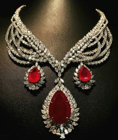 @thejewellcloset . Just look at this Stunning Ruby and Diamond Necklace by @pcjaindiamonds .