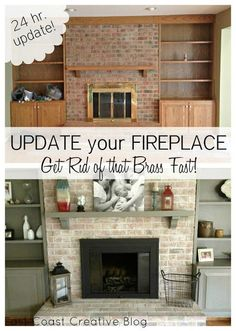 DIY whitewashed brick and painted brass fireplace! East Coast Creative: Brass Fireplace Update DIY whitewashed brick and painted brass fireplace! East Coast Creative: Brass Fireplace Update was last modified: August… Fireplace Remodel, House Design, House, Updating House, White Wash Brick, Home Remodeling, New Homes, Home Diy, Fireplace Makeover