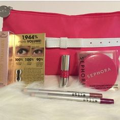 "Hot Pink Makeup Bag & Cosmetics Bundle 6 piece makeup bundle. (1) Hot pink Lancôme makeup bag (2&3) 2 Stila Glaze Full Sized Lipliners Lavender & Fuchsia 1.2g each (4) Sephora Hot Pink Double Sided Mirror with 1x & 3x magnification. Approximately 2.5""W/8.75"" diameter (5) Too Faced Better Than Sex travel size Mascara in Black 4.8g/0.17 oz (6) Yves Saint Laurent Volupte Tint-In-Oil mini sized lipgloss in Cherry My Cherie 0.1 oz/3ml. New, never used or swatched 100% Authentic. Ask questions…"