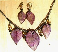 Leaf Necklace and Earring Set 3 Leaves in Gold, Salmon, Burgundy Color Real Leaf…