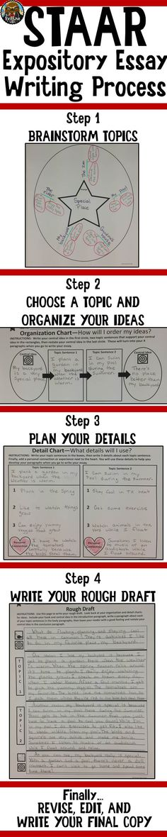4th Grade STAAR Writing--For students who struggle with writing, break the process down into easy steps.  Try these graphic organizers to help struggling kids write expository essays and be successful on the STAAR writing test.  You can make these on anchor chart paper and teach students to draw them.  You can also download them from The Pensive Sloth.