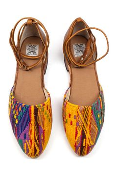 San Juan D'Orsay Flats in a cheery colorful pattern. Handmade in Guatemala <3