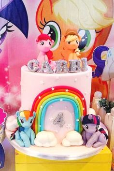 Check out this colorful My Little Pony party! The cake is magical! See more party ideas and share yours at CatchMyParty.com #catchmyparty #partyideas #mylittlepony #mylittleponyparty #cake My Little Pony Cake, My Little Pony Birthday Party, Unicorn Birthday Parties, Girl Birthday, Bridal Shower Cakes, Birthdays, Party Ideas, Colorful, Gorgeous Cakes