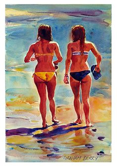"""Girls walking on the shoreline by Graham Berry Watercolor ~ 18"""" x 12"""""""