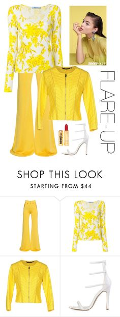"""""""Flare-Up"""" by kotnourka ❤ liked on Polyvore featuring Balmain, Blumarine, Silvian Heach, Nasty Gal, denimtrend and widelegjeans"""