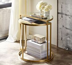 """Alistar Nesting Side Tables, Set of 2 / Pottery Barn /  Small: 22"""" w x 12.5"""" d x 22"""" h,  Large: 24"""" w x 12.25"""" d x 24"""" h / $349 (SALE)"""