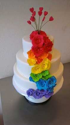 Rainbow Wedding Cake   CAKE Amsterdam: Rainbow ROSES wedding cake